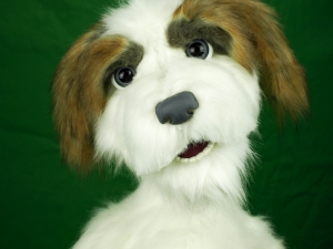 Custom Made Professional Dog Puppet / muppet with Live Hands & blinking eyes