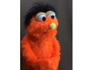 PJ Puppet with custom alterations in orange